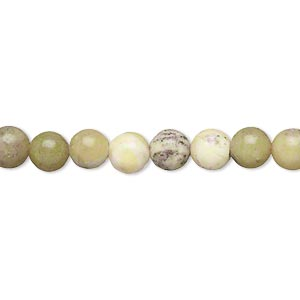 bead, multi-serpentine (natural), 6mm round, c grade, mohs hardness 2-1/2 to 6. sold per 15-inch strand.