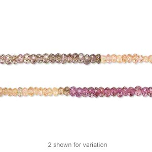 bead, multi-spinel (natural), 3x2mm-4x3mm hand-cut faceted rondelle, b grade, mohs hardness 8. sold per 16-inch strand.