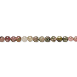 bead, multi-tourmaline (natural), 3-4mm hand-cut round, b- grade, mohs hardness 7 to 7-1/2. sold per 12-inch strand.