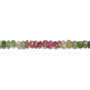 bead, multi-tourmaline (natural), 4x1mm-5x3mm hand-cut faceted heishi, c grade, mohs hardness 7 to 7-1/2. sold per 12-inch strand.