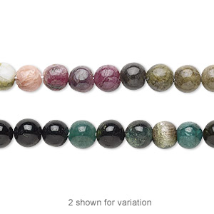 bead, multi-tourmaline (natural), 5-6mm hand-cut round, d grade, mohs hardness 7 to 7-1/2. sold per 14-inch strand.