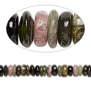 bead, multi-tourmaline (natural), 5x1mm-7x5mm hand-cut rondelle, c grade, mohs hardness 7 to 7-1/2. sold per 14-inch strand.