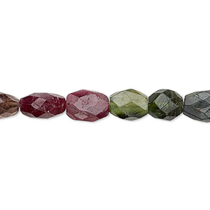 bead, multi-tourmaline (natural), 6x5mm-13x9mm hand-cut faceted puffed oval, c grade, mohs hardness 7 to 7-1/2. sold per 14-inch strand.