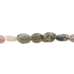bead, multi-tourmaline (natural), 7x5mm-10x7mm hand-cut flat oval, d grade, mohs hardness 7 to 7-1/2. sold per 14-inch strand.