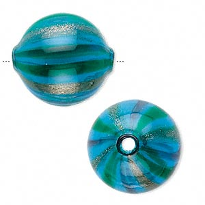 bead, murano-style handblown glass, blue, 23x19mm round. sold individually.