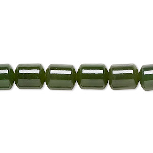 bead, nephrite jade (natural), medium to dark, 9x7mm hand-cut drum, b grade, mohs hardness 6 to 6-1/2. sold per 16-inch strand.
