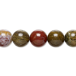 bead, ocean jasper (natural), 10mm round, b grade, mohs hardness 6-1/2 to 7. sold per 16-inch strand.