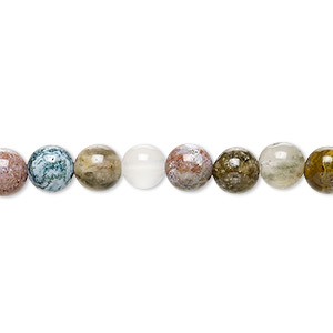bead, ocean jasper (natural), 6mm round, b grade, mohs hardness 6-1/2 to 7. sold per 16-inch strand.