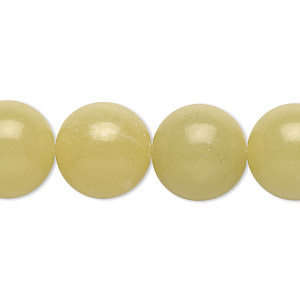 bead, olive new jade (natural), 14mm round, b grade, mohs hardness 2-1/2 to 6. sold per 16-inch strand.
