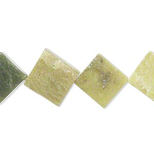 bead, olive new jade (natural), 14x14mm-17x17mm flat diamond, c grade, mohs hardness 2-1/2 to 6. sold per 15-inch strand.