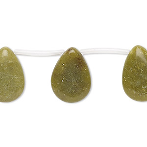 bead, olive new jade (natural), 18x13mm-18x14mm top-drilled flat teardrop, c grade, mohs hardness 2-1/2 to 6. sold per pkg of 22 beads.