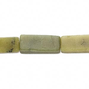 bead, olive new jade (natural), 18x8mm-20x9mm square tube, d grade, mohs hardness 2-1/2 to 6. sold per 16-inch strand.