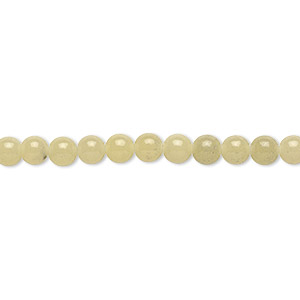 bead, olive new jade (natural), 4mm round, b grade, mohs hardness 2-1/2 to 6. sold per 16-inch strand.