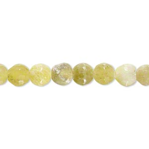 bead, olive new jade (natural), 5-7mm faceted round, c- grade, mohs hardness 2-1/2 to 6. sold per 7-inch strand.