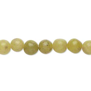 bead, olive new jade (natural), 7-8mm round, c- grade, mohs hardness 2-1/2 to 6. sold per 16-inch strand.
