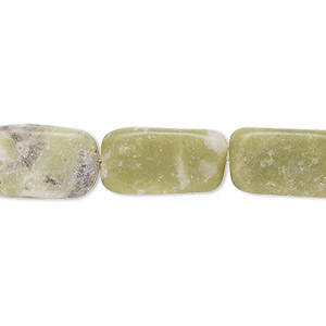 bead, olive new jade (natural), dark, 13x8mm-16x10mm rounded rectangle, d grade, mohs hardness 2-1/2 to 6. sold per 16-inch strand. minimum 5 per order.