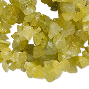 bead, olive new jade (natural), medium chip, mohs hardness 2-1/2 to 6. sold per 34-inch strand.