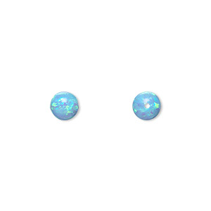 bead, opal (man-made), light blue, 6mm round with 0.8mm hole. sold individually.