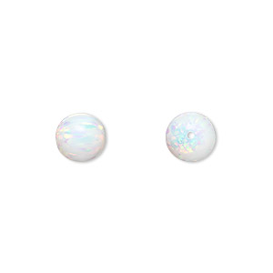 bead, opal (man-made), white, 8mm round with 1mm hole. sold individually.