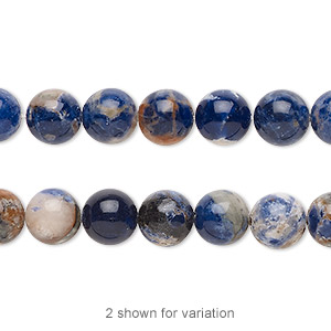 bead, orange sodalite (natural), 8mm hand-cut round with 0.5-1.5mm hole, b grade, mohs hardness 5 to 6. sold per 16-inch strand.