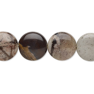 bead, outback jasper (natural), 14mm puffed flat round with 0.5-1.5mm hole, b grade, mohs hardness 6-1/2 to 7. sold per 8-inch strand, approximately 15 beads.