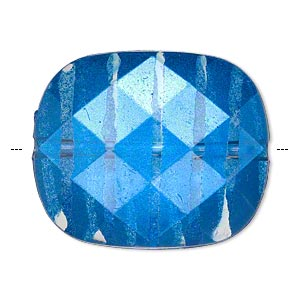 bead, painted acrylic, semitransparent clear and blue, 34.5x29mm faceted rounded rectangle. sold per pkg of 10.