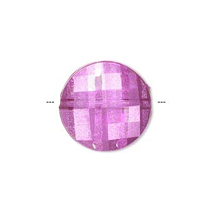bead, painted acrylic, semitransparent clear and pink, 20mm faceted puffed flat round. sold per pkg of 40.