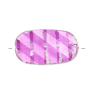 bead, painted acrylic, semitransparent clear and pink, 29.5x16mm faceted twisted flat oval. sold per pkg of 40.