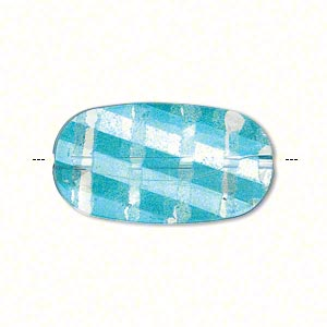 bead, painted acrylic, semitransparent clear and teal blue, 29.5x16mm faceted twisted flat oval. sold per pkg of 40.