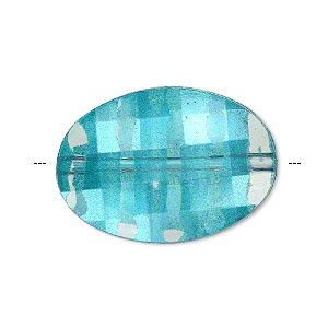 bead, painted acrylic, semitransparent clear and teal blue, 30x21mm faceted puffed flat oval. sold per pkg of 20.