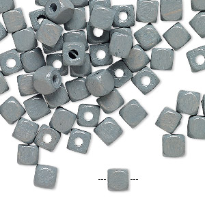 bead, painted vintage german wood, grey, 5x5mm rounded cube. sold per pkg of 100.