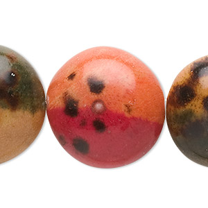 bead, painted wood (coated), multicolored, 25x16mm puffed flat round. sold per pkg of 8.