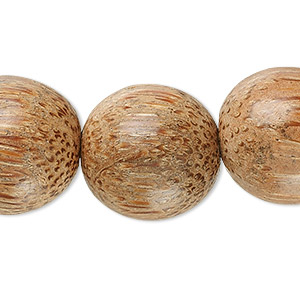 bead, palm wood, 20mm round. sold per 16-inch strand.
