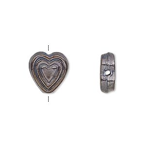 bead, patinaed copper, 13x12mm flat heart with concentric heart design and 0.9-1.2mm hole. sold per pkg of 10.
