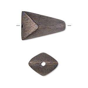 bead, patinaed copper, 22x22x15mm brushed puffed double triangle with 1.8-3.3mm hole. sold per pkg of 4.