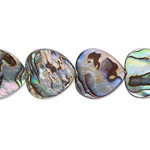 bead, paua shell and resin (assembled), 15x15mm flat heart. sold per 16-inch strand.