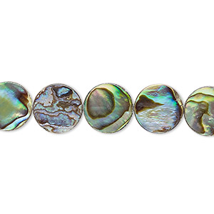 bead, paua shell (assembled), 10mm flat round. sold per 16-inch strand.