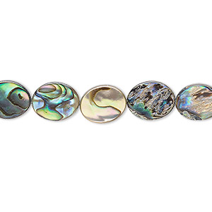 bead, paua shell (assembled), 10x8mm flat oval, mohs hardness 3-1/2. sold per 16-inch strand.