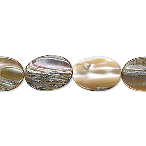 bead, paua shell (natural), 14x10mm-15x11mm flat oval, mohs hardness 3-1/2. sold per 16-inch strand.