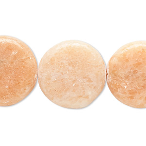 bead, peach calcite (coated), 19-21mm flat round, c- grade, mohs hardness 3. sold per 15-inch strand.