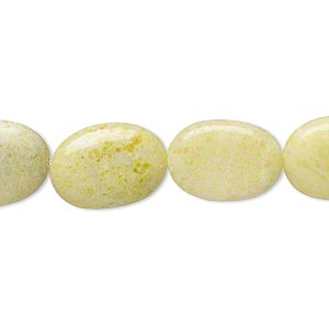 bead, peridot jasper (natural), 16x12mm-17x12mm puffed oval, d grade, mohs hardness 2-1/2 to 6. sold per 15-inch strand.