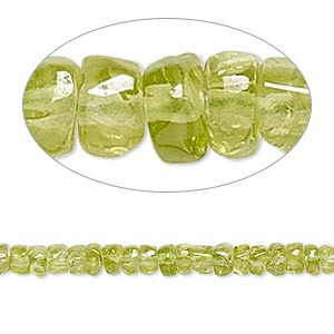 bead, peridot (natural), 3x1mm-4x3mm hand-cut heishi, b- grade, mohs hardness 6-1/2 to 7. sold per 14-inch strand.