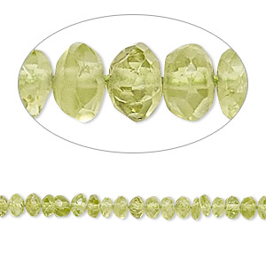 bead, peridot (natural), 4x2mm-5x4mm hand-cut faceted rondelle, b- grade, mohs hardness 6-1/2 to 7. sold per 16-inch strand.
