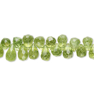 bead, peridot (natural), 4x3mm-8x5mm hand-cut top-drilled faceted briolette, b grade, mohs hardness 6-1/2 to 7. sold per 16-inch strand.