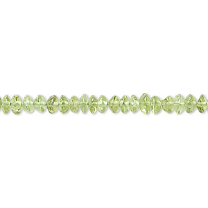 bead, peridot (natural), 4x3mm hand-cut smooth rondelle, c grade, mohs hardness 6-1/2 to 7. sold per 16-inch strand.