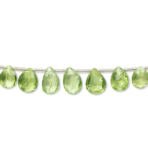 bead, peridot (natural), 5x3mm-8x4mm graduated hand-cut top-drilled faceted puffed teardrop, b grade, mohs hardness 6-1/2 to 7. sold per 4-inch strand, approximately 15 beads.