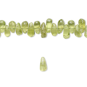 bead, peridot (natural), 5x4mm-8x5mm hand-cut top-drilled teardrop, b- grade, mohs hardness 6-1/2 to 7. sold per 16-inch strand.