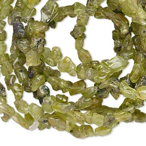 bead, peridot (natural), mini chip, mohs hardness 6-1/2 to 7. sold per 35-inch strand.