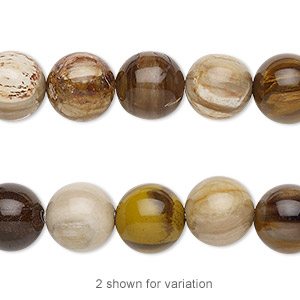 bead, petrified wood (natural), 10mm round with 0.5-1.5mm hole, b grade, mohs hardness 6-1/2 to 7. sold per 8-inch strand, approximately 20 beads.