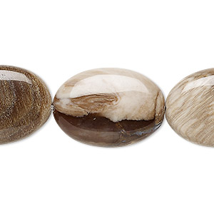bead, petrified wood (natural), 25x17mm puffed oval, b grade, mohs hardness 6-1/2 to 7. sold per 8-inch strand, approximately 8 beads.